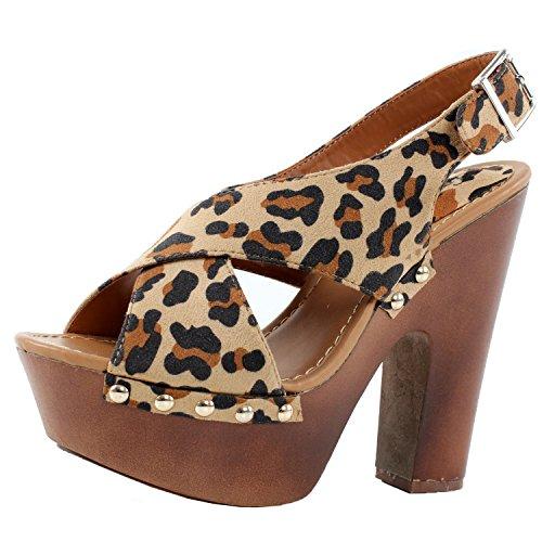 Breckelles Rudy-13 Sandali Con Zeppa, 9 B (m) Us, Pelle Scamosciata Leopardo