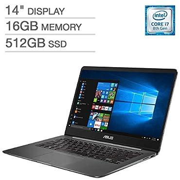 "ASUS ZenBook UX430UN UltraBook Laptop: 14"" Matte NanoEdge FHD (1920x1080), 8th Gen Intel Core i7-8550U, 512GB SSD, 16GB RAM, NVIDIA MX150 Graphics, Backlit Keyboard, FingerPrint Reader, Windows 10"