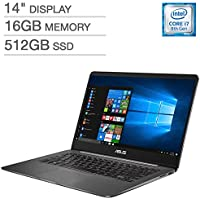 ASUS ZenBook UX430UN UltraBook Laptop: 14 Matte NanoEdge FHD (1920x1080), 8th Gen Intel Core i7-8550U, 512GB SSD, 16GB RAM, NVIDIA MX150 Graphics, Backlit Keyboard, FingerPrint Reader, Windows 10