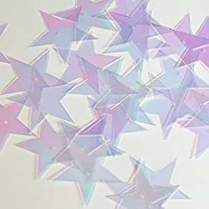 "Star 5 Point Sequin 1.5"" Crystal Crystallina Iris Mirror Iridescent Loose Couture Paillettes"