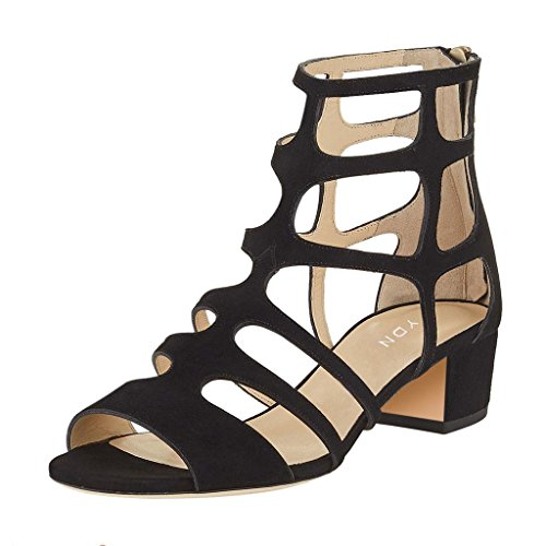 YDN Women Sexy Peep Toe Strappy Cutout Sandals Ankle High Block Low Heel Dress Shoes With Zips Black order cheap online cheap 100% guaranteed low price QpNNLf8T