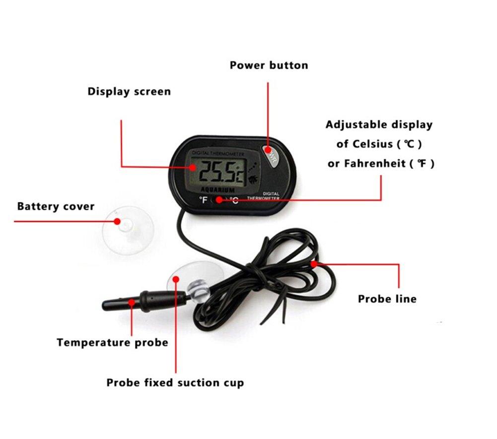 LAAT Digital LCD Aquarium Thermometer Fish Tank Water Thermometer