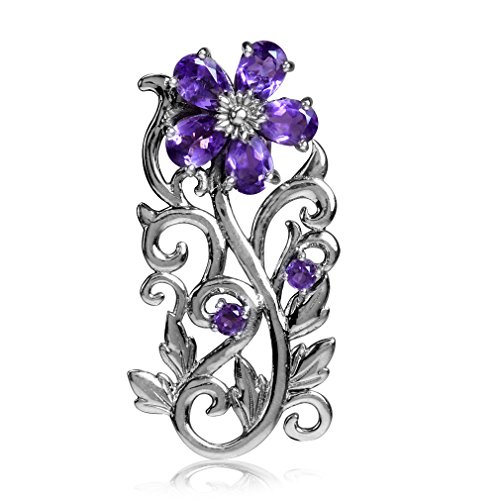 1.92ct. Natural African Amethyst 925 Sterling Silver Flower & Leaf Pendant