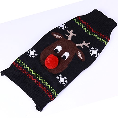 Every Day Fleece Cold Weather Dog Vest for Small Dogs ,Matching Men's Women's Sweater Knitted Clothes Black M (M)