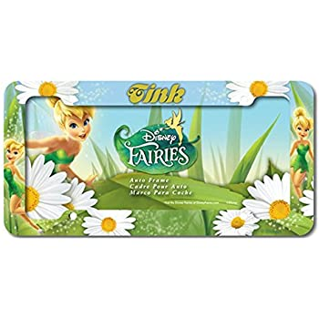 plastic license plate frame with disney fairies design tinkerbell with white flowers - Disney License Plate Frame