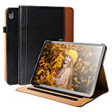 Sevrok iPad Pro 11 Case Premium Leather Minimalist Magnetic Smart Cover with Auto Sleep Wake Feature [ Support Apple Pencil Charging ] for iPad Pro 11 Inch 2018 - Black+Brown