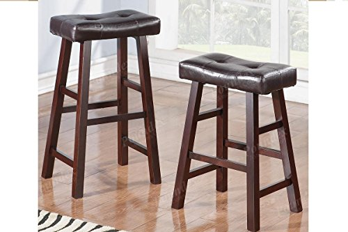 Espresso Wood Saddle Back Stools with Bonded Faux Leather Seat Set of 4 24 Inch