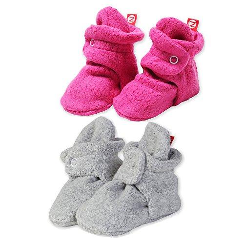 2 Pack Zutano Booties Unisex Fleece Slipper Socks Heather Gray and Fuchsia - 18M
