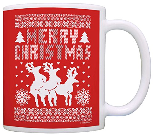 Ugly Christmas Sweater Humping Reindeer Funny Secret Santa Gag Gift Coffee Mug Tea Cup (Yeti Christmas Sweater)