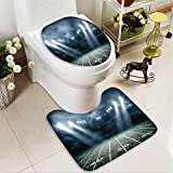 Analisahome Toilet carpet floor mat american soccer stadium d rendering 2 Piece Shower Mat set