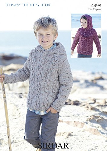 Sirdar Boys Hooded Sweaters Tiny Tots Knitting Pattern 4498 Dk
