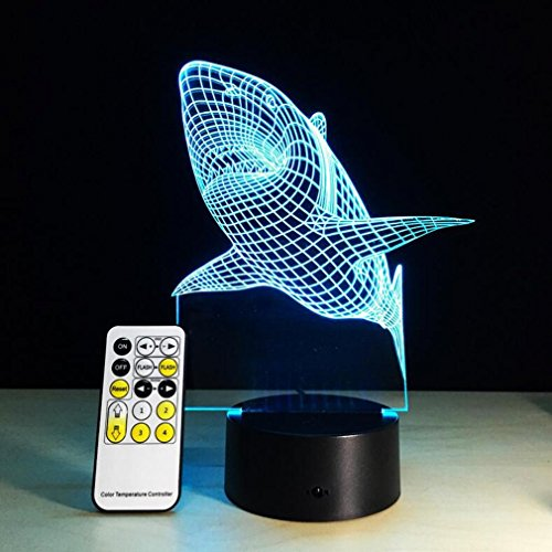 CARYY 3D LED Illusion Lamp, 7 Colors Change Remote Control Visual Light, Optical Shark Night Lights, Decoration Atmosphere Table Lamps, Children Christmas Gifts by CARYY
