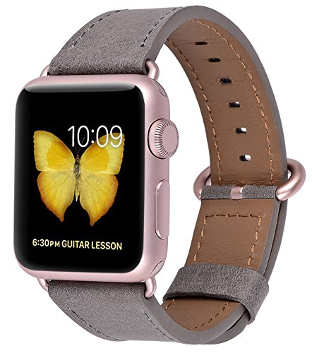 JSGJMY Compatible Iwatch Band 38mm Women Dark Grey Vintage Genuine Leather Loop Replacement Strap with Rose Gold Metal Clasp Compatible Iwatch Series 3 2 1 Sport Edition by JSGJMY