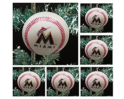 "MLB Major League Baseball Miami Marlins Set of 6 Holiday Christmas Tree Ornaments Featuring Marlins Team Baseball Ornaments Ranging from 2"" to 2.5"" Tall"