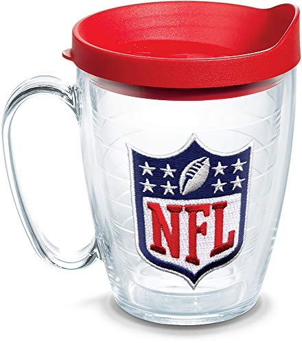 Tervis 1062482 NFL National Football League Logo Tumbler with Emblem and Red Lid 16oz Mug, Clear