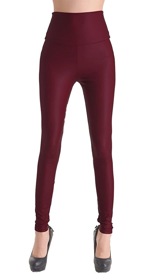 Leggins de piel sintética PU-óptica, cadera de pantalones de piel sintética Treggins enjutos