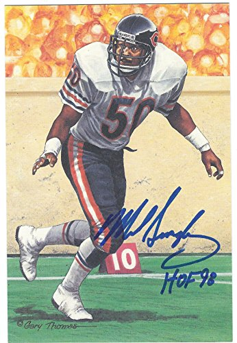 Autographed Mike Singletary Chicago Bears Goal Line Art Card