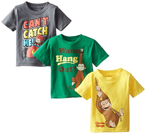 Curious George Little Boys' Toddler Boys T-Shirt 3-Pack No 1, Assorted, 2T