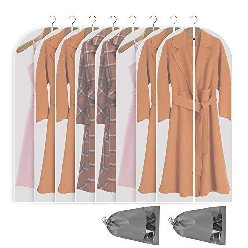 Perber Hanging Garment Bag Lightweight Clear Full Zipper Suit Bags (Set of 8) PEVA Moth-Proof Breathable Dust Cover for Closet Clothes Storage -White 24''x60''/8 Pack