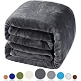 Balichun Luxury 330 GSM Fleece Blanket Super Soft Warm Fuzzy Lightweight Bed or Couch Blanket Twin/Queen/King Size(Queen,Dark Grey)