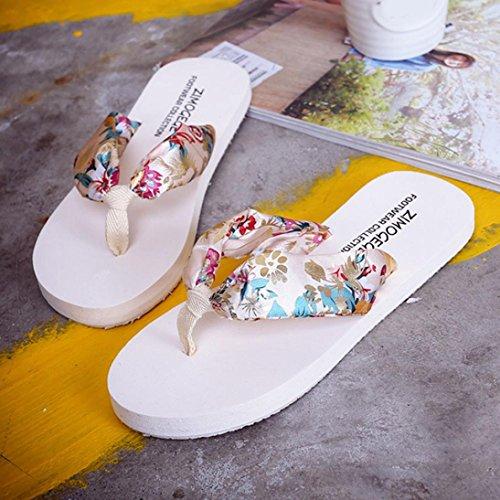 87210f2fe9033 ... Femmes Sandales Plates, Dixworld Été Bohème Tongs Plage Pantoufle  Chaussures Beige ...