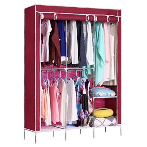Portable Wardrobe Clothes Closet Non-Woven Fabric Garment Rack with Shelves Storage Organizer and Hanging Rack (49.5-Inch, Wine Red, US STOCK) (Double Faced Shelving Set)