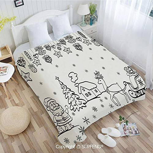 Beds Luxury Sleigh - Luxury Bed Blanket Tree Ornaments Santa Sleigh Rudolph Reindeer Toys Jingle Bells Image(W31.5xL47.3 inch ) Easy Care Machine Wash for Bedroom/Living Room/Camping etc