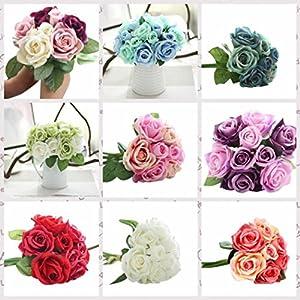 LtrottedJ 9 Heads Artificial Silk Fake Flowers Leaf Rose Wedding Floral Decor Bouquet 2