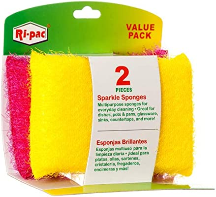 Amazon.com: New 347580 Ri-Pac Sparkle Sponges 2 Pk Assorted Color (36-Pack) Kitchen Utensil Cheap Wholesale Discount Bulk Kitchenware Kitchen Utensil: ...