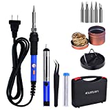 8-in-1 Soldering Iron Kit Kuman 60W with ON/OFF Switch Adjustable Temperature, 5pcs Different Tips, Tin Wire Tube, Desoldering Pump, Stand, Anti-static Tweezers and Solder Tip Cleaning Wire w/ a Tool Case