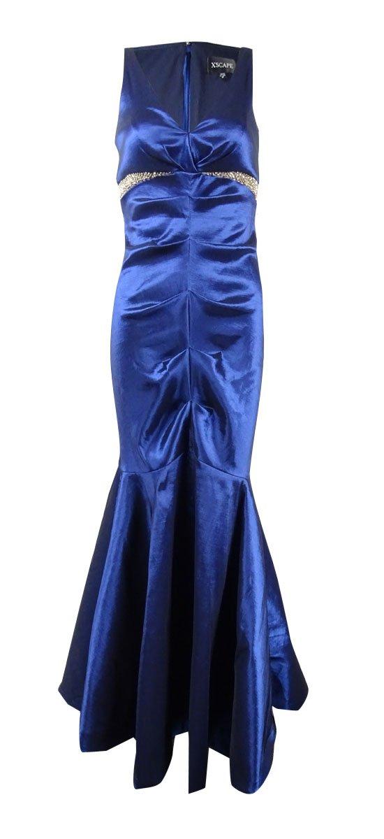 Xscape Women's Beaded-Waist Ruched Taffeta Mermaid Gown (8, Navy)