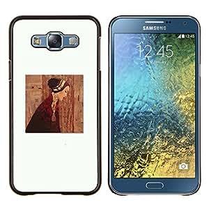Pintura Clean vestido blanco profundo- Metal de aluminio y de plástico duro Caja del teléfono - Negro - Samsung Galaxy E7 / SM-E700