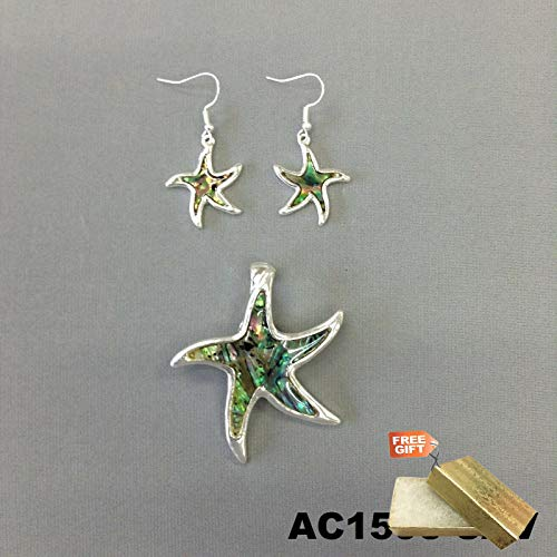 (Silver Finish Abalone Color Sea StarFish Design Pendant Necklace & Earrings Set For Women + Gold Cotton Filled Gift Box for Free)