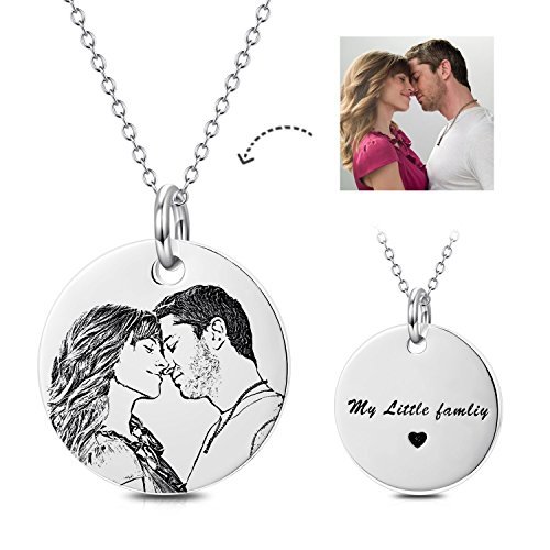 LONAGO Personalized Photo Necklace Custom Engraved Necklace Pendant Back and White Color Sterling Silver Gifts (sterling sliver, (Heart Pendant Necklace Portrait)