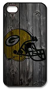 icasepersonalized Personalized Protective Case for iPhone 4/4S - Green Bay Packer Helmet Wood Look