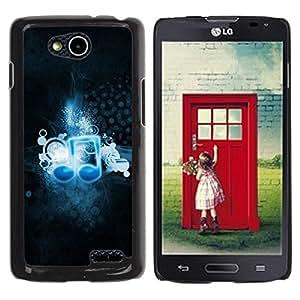 Be Good Phone Accessory // Dura Cáscara cubierta Protectora Caso Carcasa Funda de Protección para LG OPTIMUS L90 / D415 // Music Love Note Blue Art Wallpaper Black