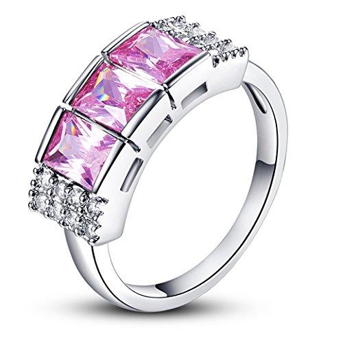 PAKULA Womens Fancy 4mmx6mm Radiant Cut Pink Topaz Cubic Zirconia Engagement Ring