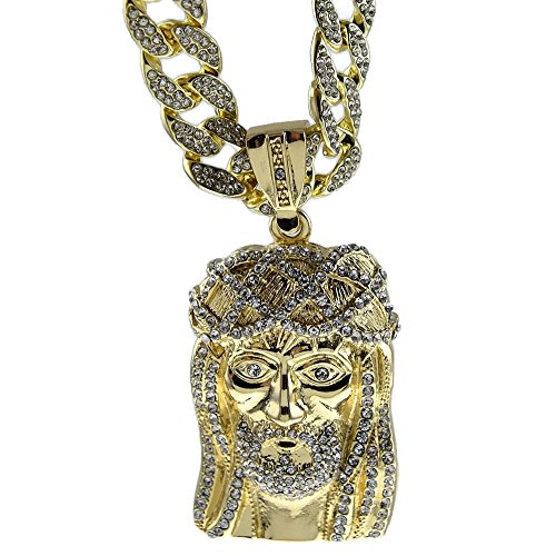 Iced-Out Jesus Piece Pendant Gold Finish 30 Inch Chain Cuban Full Stone Hip Hop Necklace -