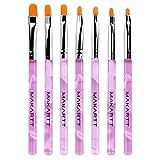 MAKARTT 7PCS Nail Art Brushes Set Acrylic UV Gel Nail Polish Brush Nail Art Tips Builder Pen (Pink)
