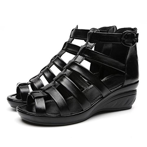 De Femmes Black01 De Peep Soirée De Wedge Sandales Noir en Soirée Robe Travail Toe Bureau Creuses Cuir pwnRqf4