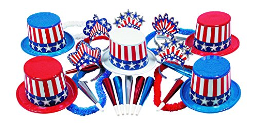 USA Patriotic New Year's Eve Party Kit for 25 People 13 Top Hats 12 Tiaras 25 Horns 12 Poly Hawaiian Leis