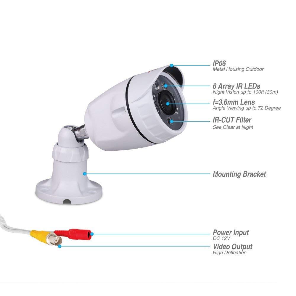 Bewegung Alarm 20m IR Nachtsicht Smartphone /& PC Schnellzugriff wei/ß Tonton CCTV 1080P Video /Überwachungssystem 8CH TVI DVR Recorder mit 4 Au/ßen HD 1080P /Überwachungskamera Set ohne Festplatte