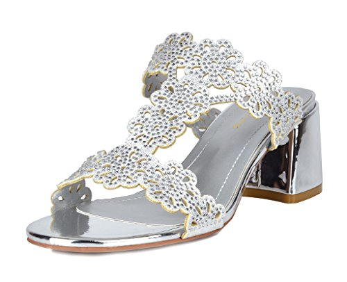 DREAM PAIRS Women's Duchess_02 Silver Fashion Block Slides Heeled Sandals Size 10 B(M) US