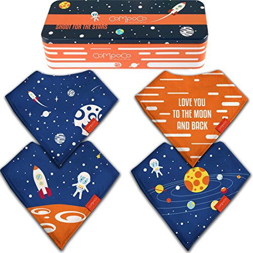 Baby Bandana Drool Bibs for Girls and Boys Drooling Absorbent and Teething, Pack of 4 Bib set with Tin Gift Box (Box Gift Newborn)
