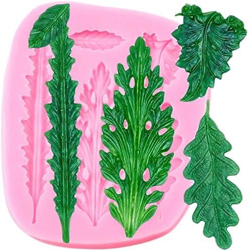 SKJH Siliconen bakvorm voor fondant blad cupcake topper knutselen cake decoratie gereedschap snoep chocolade bakvorm polymeerklei