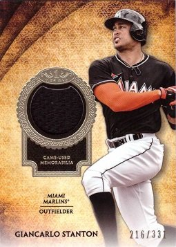 2017 Topps Tier One Relics #T1R-GS Giancarlo Stanton Miami Marlins Game Worn Jersey Baseball Card - Only 331 made! ()