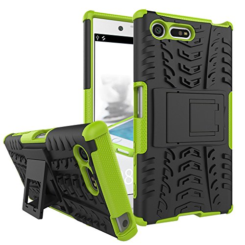 Xperia X Compact Case,XYX [Green] [Kickstand][Shock Absorption] Dazzle Bracket Dual Layer Defender Protective Case Cover for Sony Xperia X - Munn Glasses Olivia