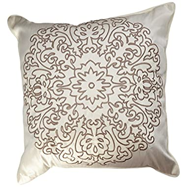 Stone Cottage Medallion Embroidered Decorative Pillow, 18-Inch