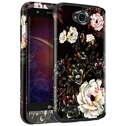 LG X Power 2 Case, LG Fiesta LTE Case, LG K10 Power Case, LG X Charge Case Shockproof Hybrid Hard Plastic + Flexible TPU Armor Impact Case for LG X Power 2/LG LV7/LG Fiesta 2 LTE, Black/White Flower