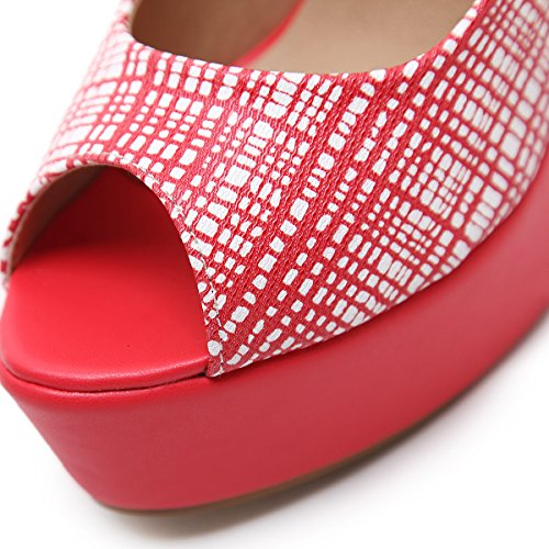ZHZNVX Spring new high-heel shoes fine with PU waterproof Taiwan fish fitting Women's singles shoes red wx66OHRGd